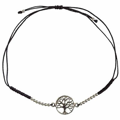 Bracelet-Arbre-de-Vie-Argent-avec-cordon-ajustable-en-coton-noir