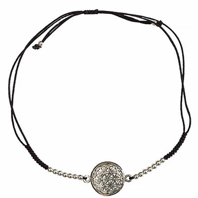 Bracelet-Fleur-de-Vie-Argent-avec-cordon-ajustable-en-coton-noir