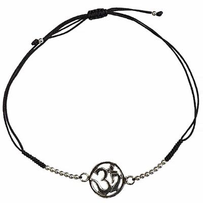 Bracelet-Om-Argent-avec-cordon-ajustable-en-coton-noir