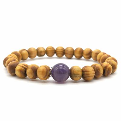 Bracelet-bois-naturel-et-pierre-d'Améthyste