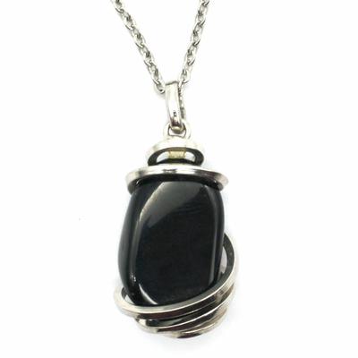 Pendentif-'Acceptation-et-Transformation'-en-Obsidienne-noire-Stone-et-Style