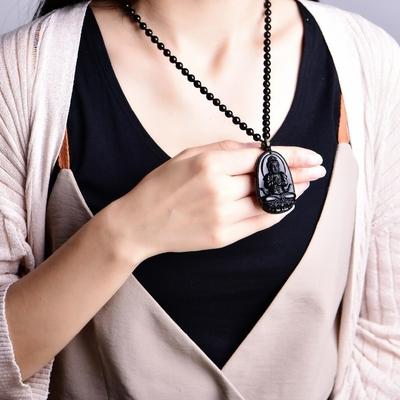 Collier amulette de protection en Obsidienne noire