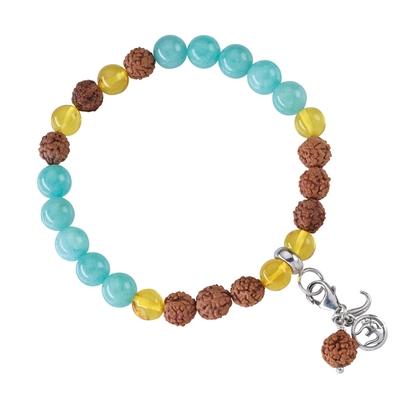 Bracelet Mala Amazonite, Ambre (Auto Détermination)