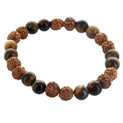 Bracelet-H-Oeil-de-Tigre-et-Rudraksha-Perles-rondes-8-mm