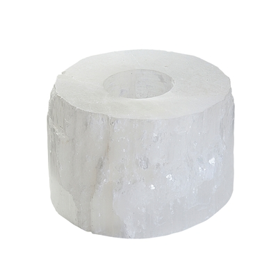 Porte bougie en sélénite blanche de 12cm