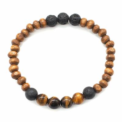 Bracelet-H-Bois,-Oeil-de-Tigre-et-Pierre-de-lave-Perles-rondes-8-mm