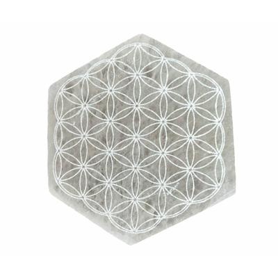 Dalle-de-purification-en-Sélénite-Fleur-de-vie---Hexagonal-de-10cm