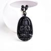 """Collier amulette de protection en Obsidienne noire """"Symbole du Bouddha"""" - Sculpté À La Main-2"""