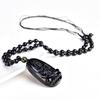 """Collier amulette de protection en Obsidienne noire """"Symbole du Bouddha"""" - Sculpté À La Main-1"""