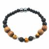 Bracelet-H-Pierre-de-lave,-Bois,-Oeil-de-Tigre,-Hématite-Perles-rondes