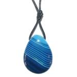 Pendentif agate bleue avec cordon