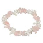 Bracelet baroque duo Quartz rose et Cristal de roche
