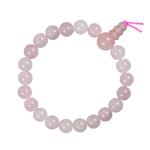 Mala tibétain 21 graines Power Bracelet Quartz Rose boule 8 mm