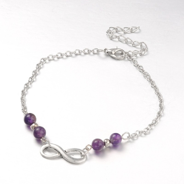 Bijoux Fantaisie Luxembourg Ville : Bracelet de cheville en am?thyste r?glable bijoux
