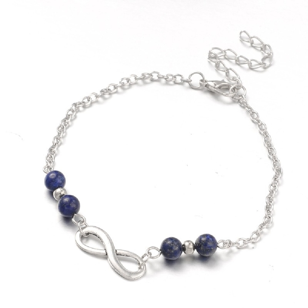 Bijoux Fantaisie Luxembourg Ville : Bracelet de cheville en lapis lazuli r?glable bijoux