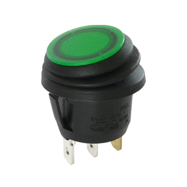 Interrupteur rond noir à bascule verte étanche lumineuse, 250V.
