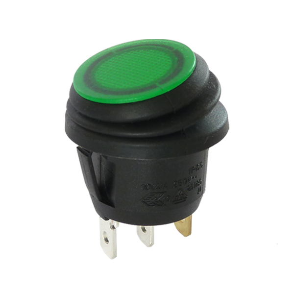 interrupteur rond noir  u00e0 bascule verte  u00e9tanche lumineuse  250v