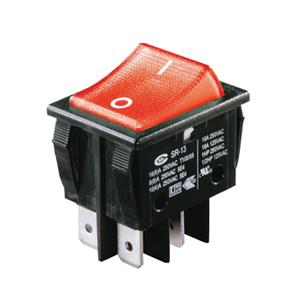 Interrupteur à bascule rouge corps noir, On-Off, lumineux, 250V