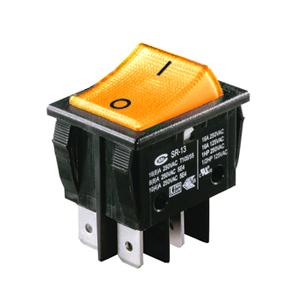 Interrupteur à bascule orange corps noir, On-Off, lumineux, 250V