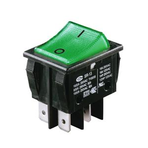 Interrupteur à bascule verte corps noir, On-Off, lumineux, 250V
