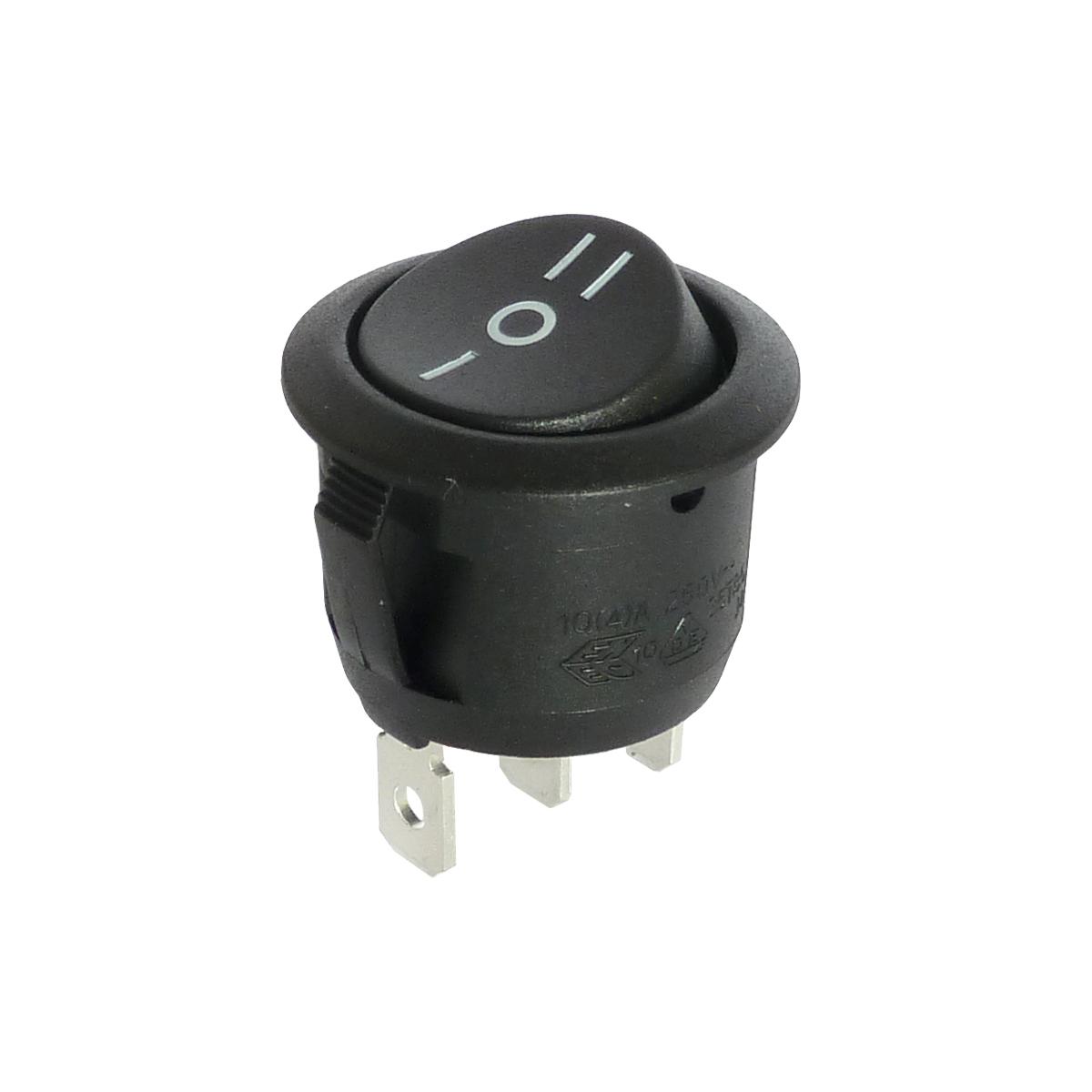 Interrupteur à bascule rond noir, On-Off-On, 250V