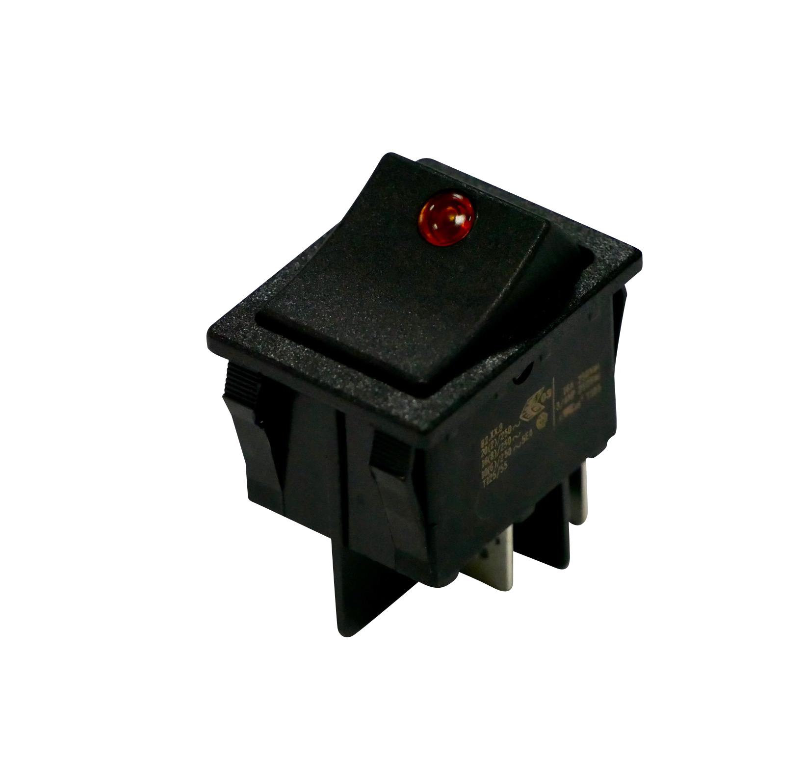 Interrupteur à bascule lentille rouge corps noir, On-Off, lumineux, 250V