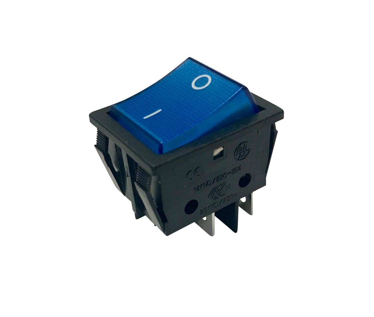 Interrupteur lumineux à bascule bleue corps noir, 250V 16A