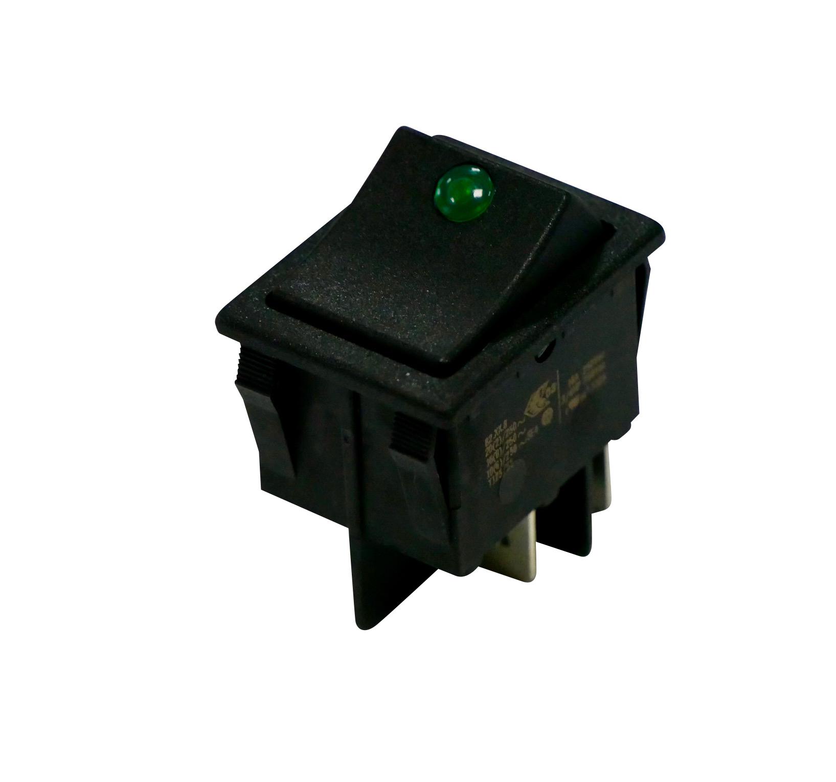 Interrupteur à bascule lentille verte corps noir, On-Off, lumineux, 250V
