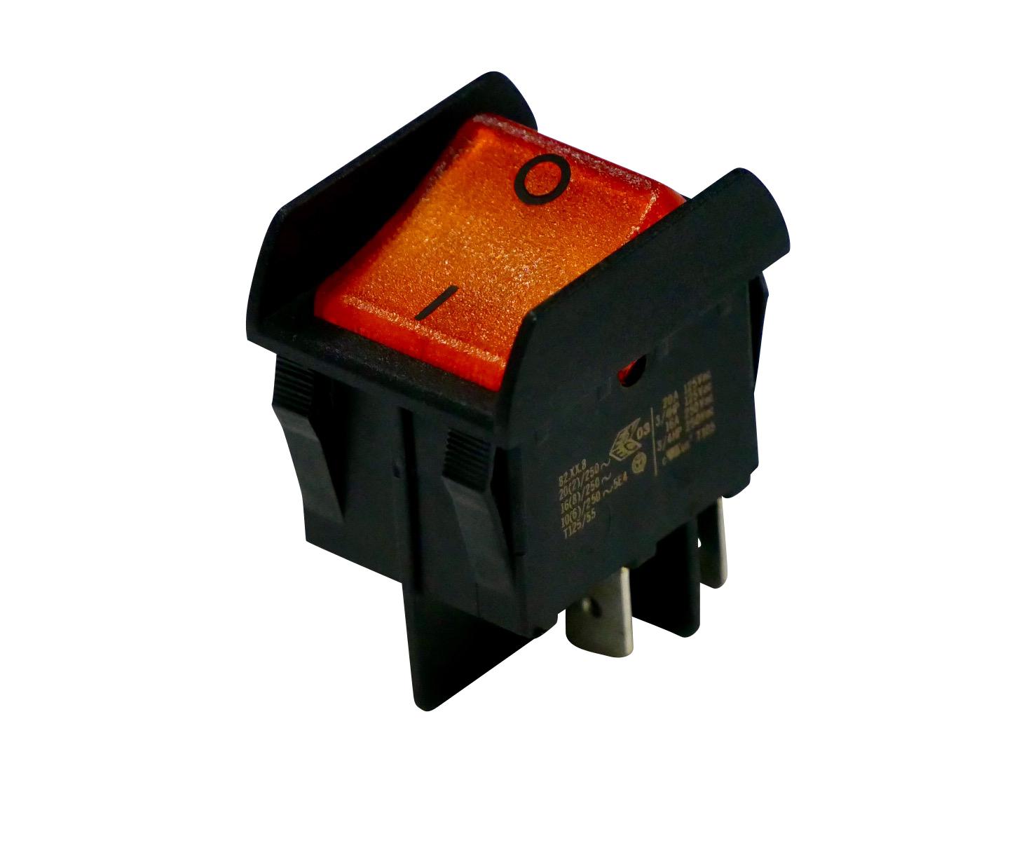 Interrupteur bascule orange corps noir, On-Off, lumineux, protection antichoc