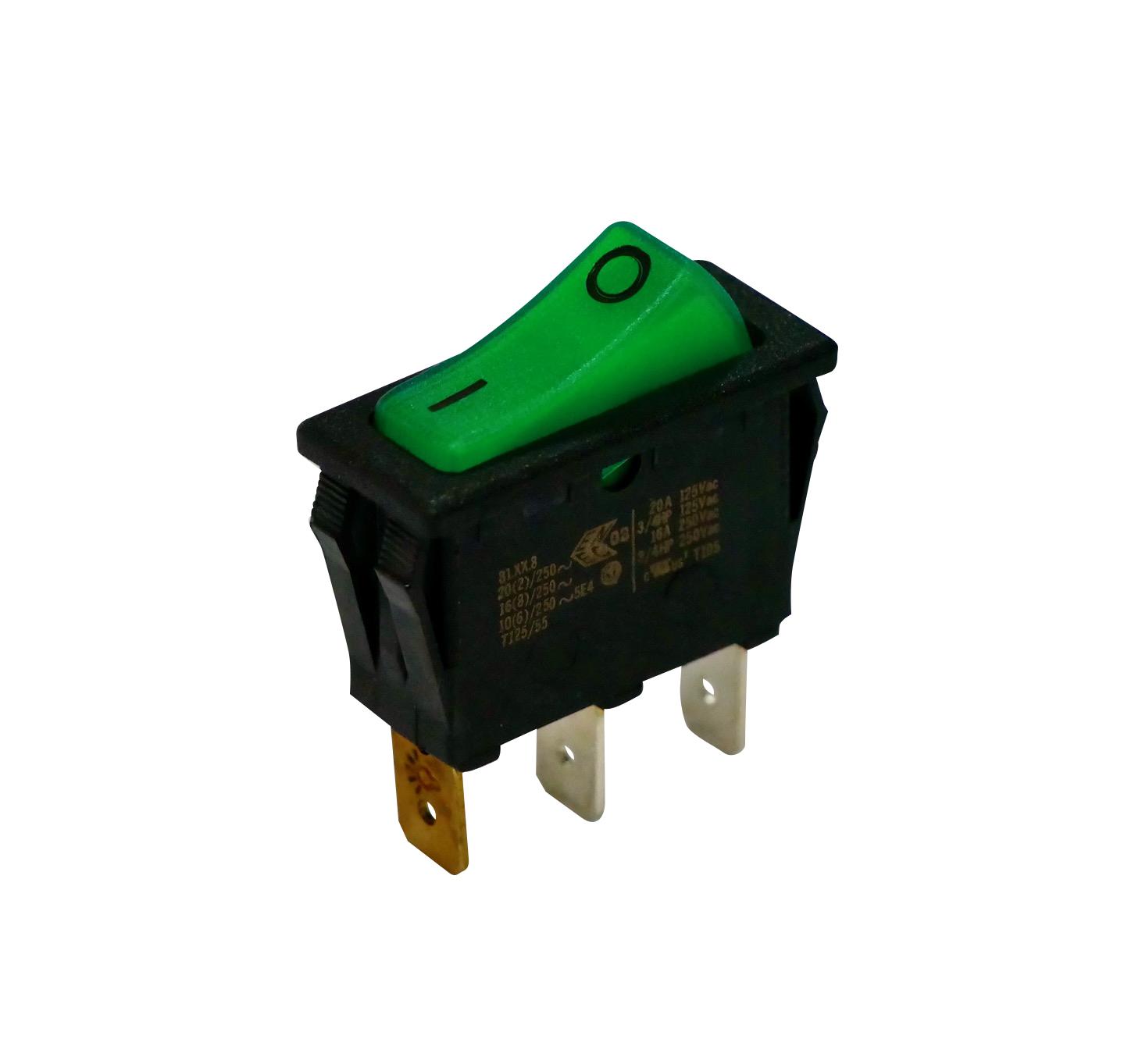 Interrupteur rectangulaire vert lumineux unipolaire 250V