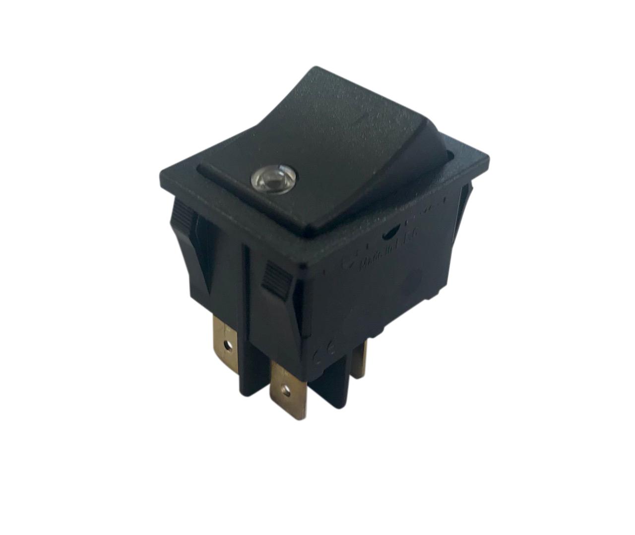 Interrupteur lumineux à bascule lentille cristal corps noir, On-Off, 250V