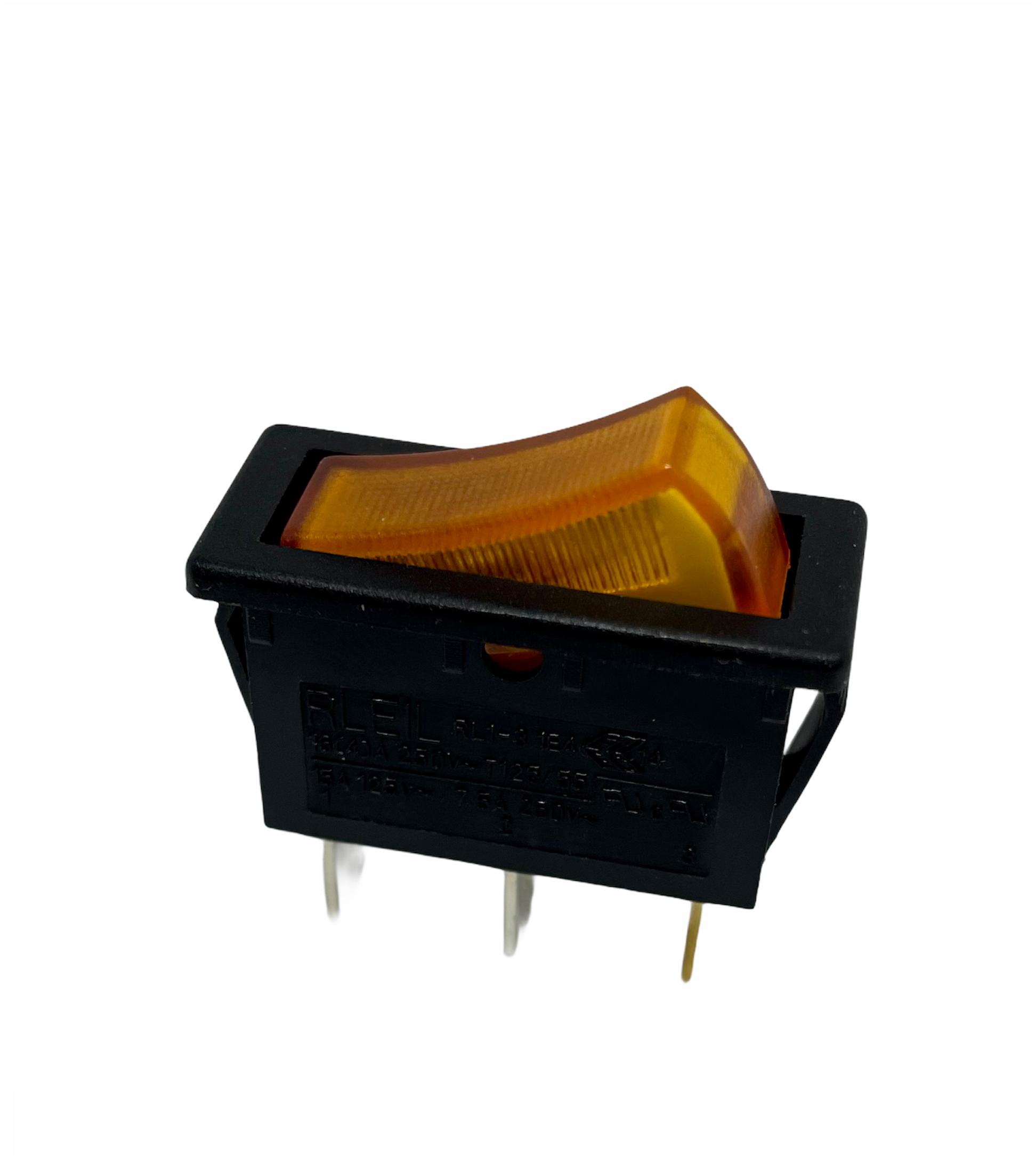 Interrupteur rectangulaire à bascule lumineuse orange unipolaire