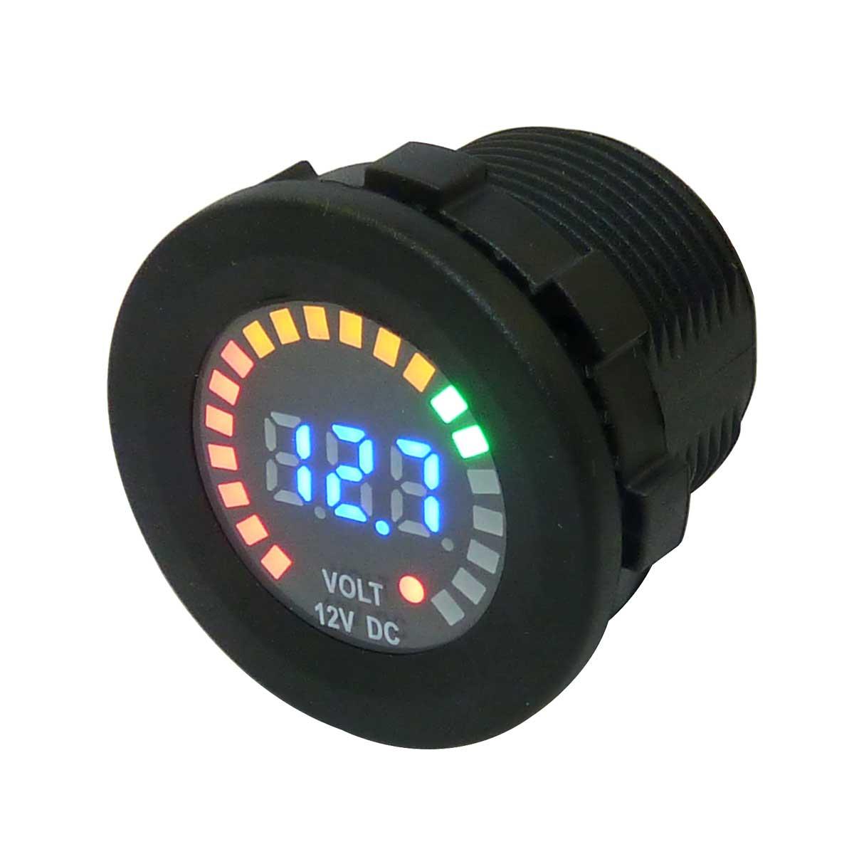 Voltmètre à batterie affichage avec jauge Led