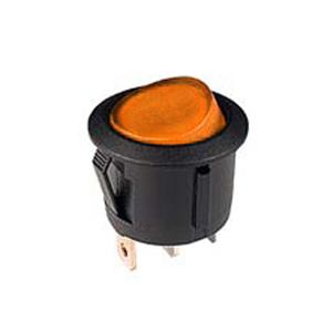 Interrupteur 12V lumineux rond noir à bascule orange, On-Off