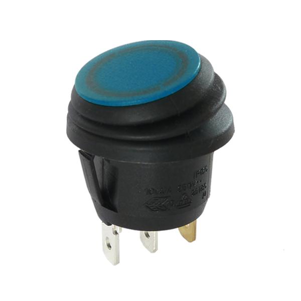 Interrupteur rond noir à bascule étanche bleue, 12V, On-Off, lumineux