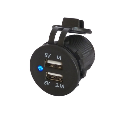 Prise 2 ports USB étanche 3.1A Led bleu JH-RS-2013