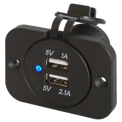 Platine prise 2 ports USB étanche 3.1A Led bleu JH-RS-2013-A