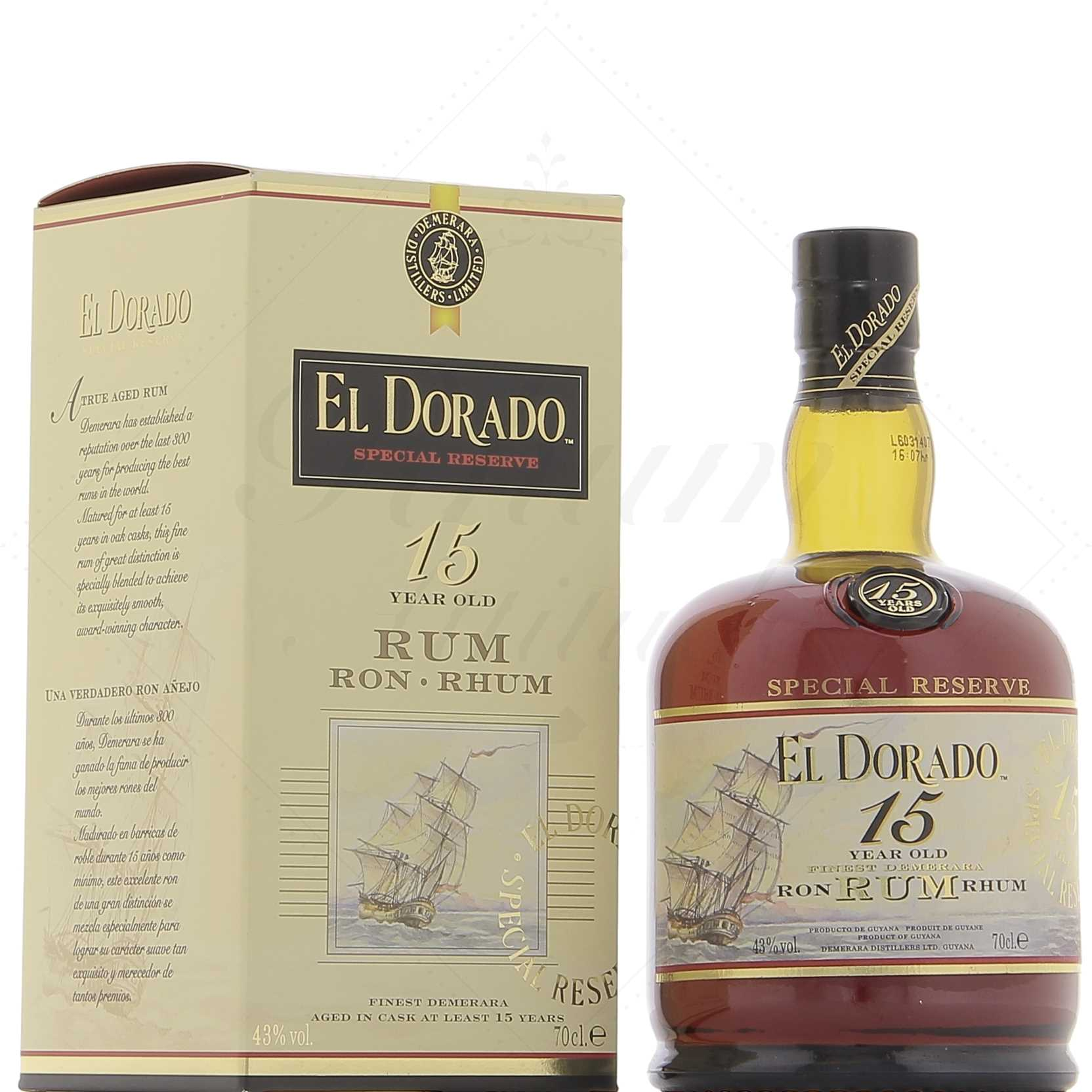 EL Dorado 15 ans - Guyane Anglaise - 70cl - 43°