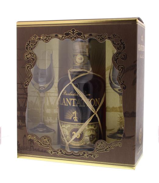 Coffret Plantation Rum Barbados Extra 20th Anniversary + 2 verres - Barbade - 70cl - 40°
