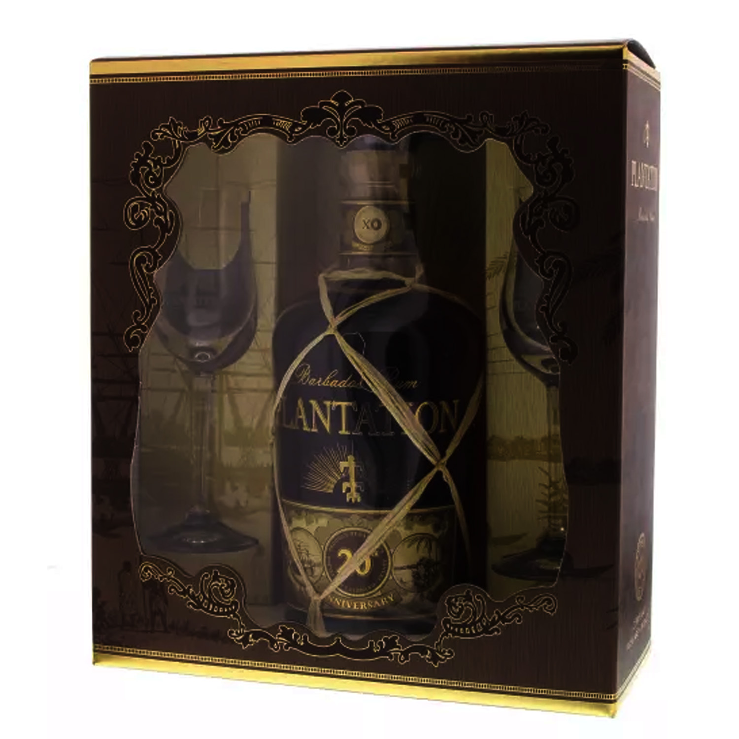 Coffret Plantation Rum Barbados Extra 20th Anniversary + 2 verres - Barbade - 70cl - 40°