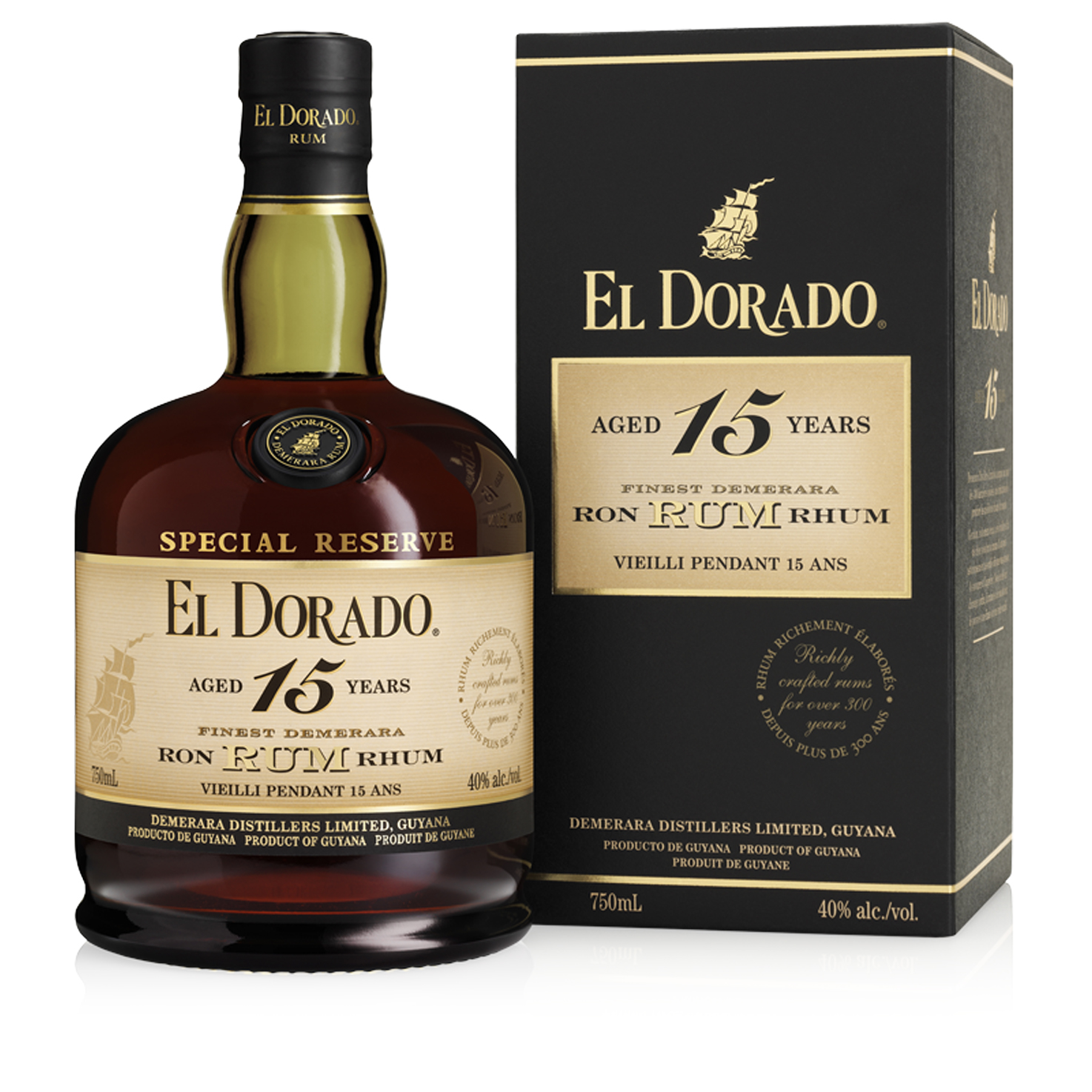 Rhum - EL Dorado 15 ans - Guyane Anglaise - 70cl - 43°