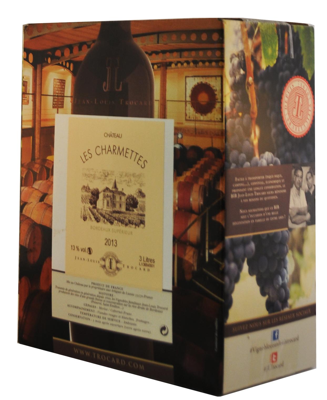 Cubi de qualité - Château Les Charmettes - Bordeaux Supérieur - 3L - ROUGE - 2016