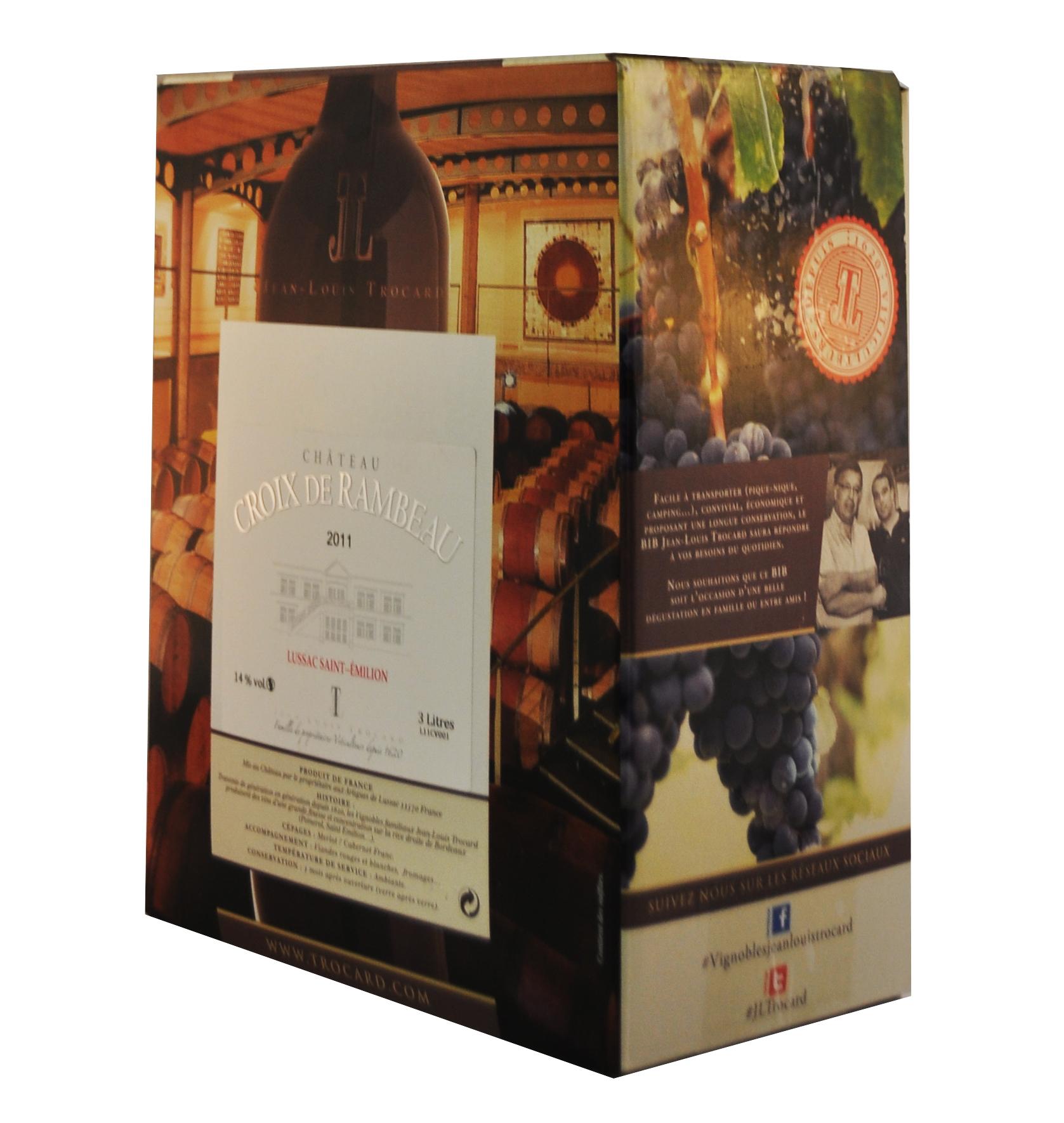 Cubi de qualité - Château Croix de Rambeau - Lussac St Emilion - 3L - ROUGE - 2017
