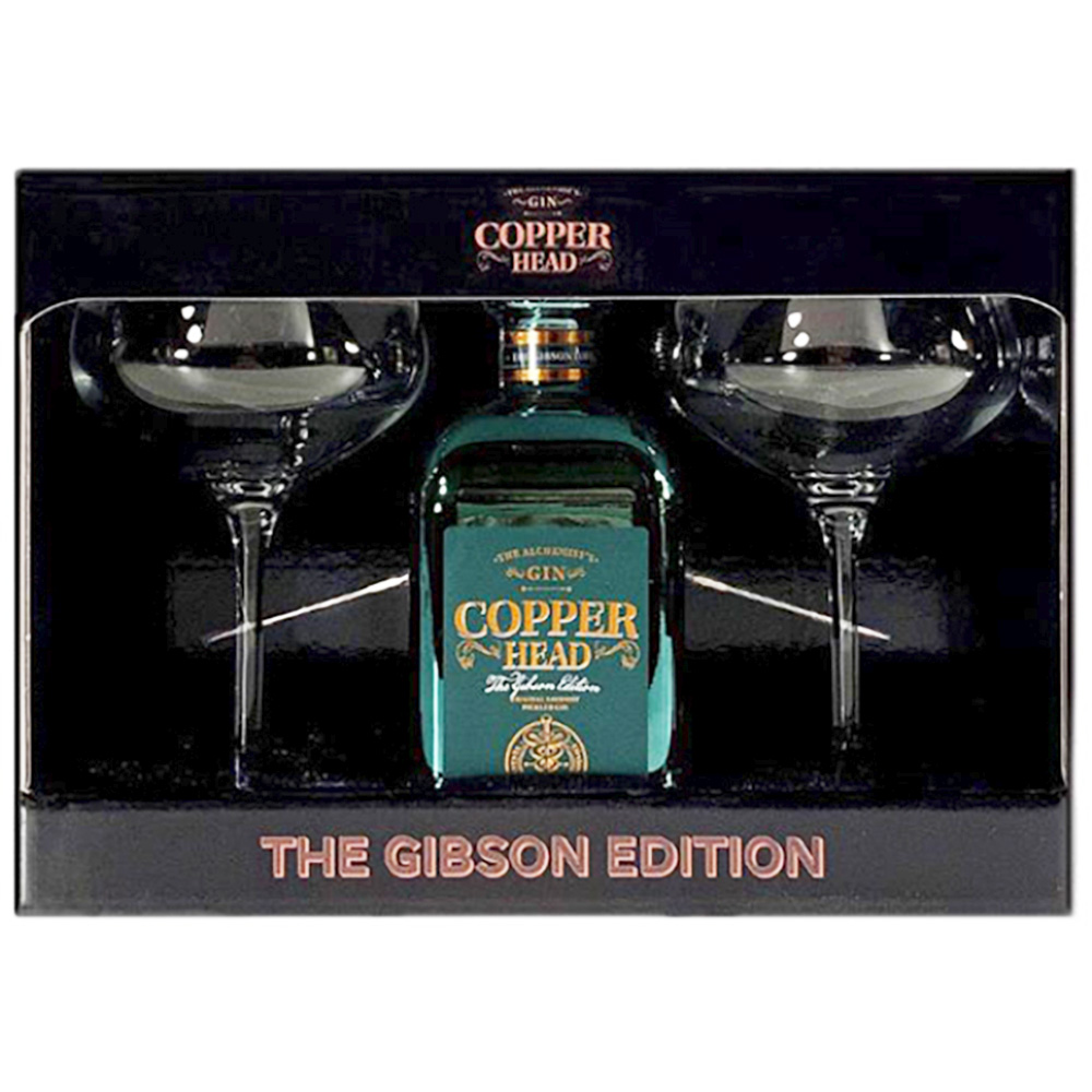 Gin - Copper Head Gibson Edition Martini Box + 2 verres - Belgique - 50cl - 40°