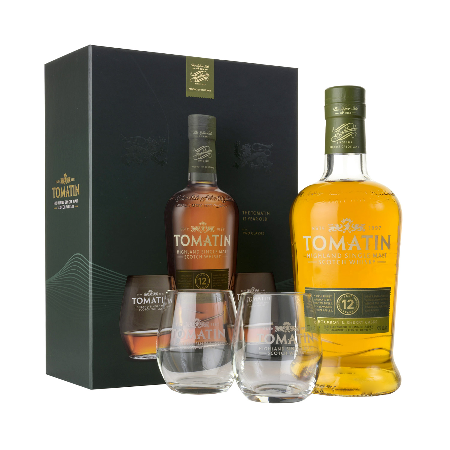 Coffret Whisky - Tomatin 12 y + 2 verres - Ecosse - Single Malt - Non Tourbé - 70 cl - 43°
