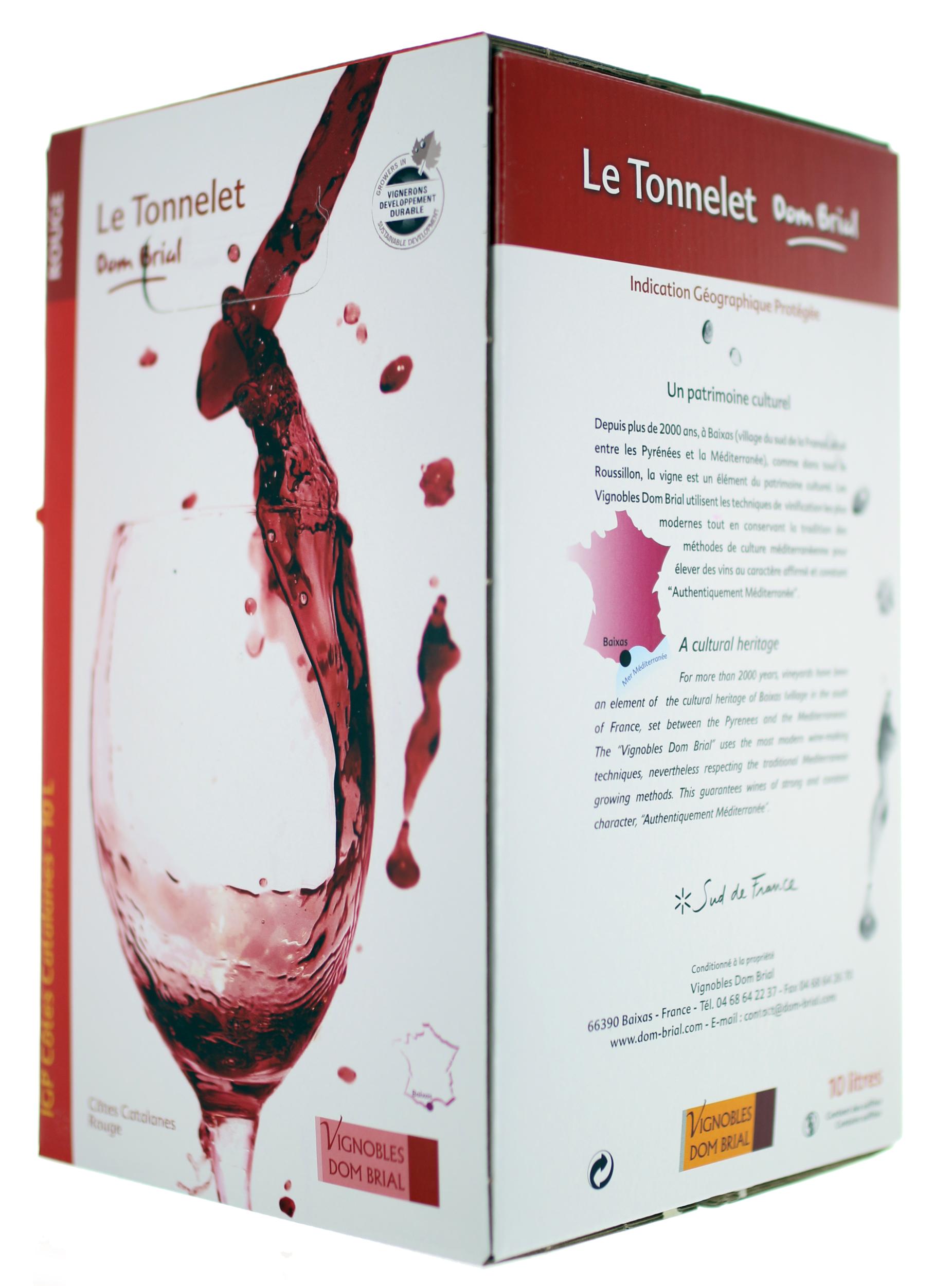 IGP Côtes Catalanes - Cubi de qualité - Le Tonnelet - 5L - Domaine Dom Brial - ROUGE