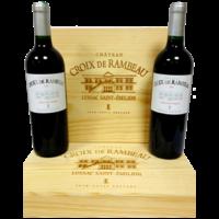 Coffret bois Bordeaux - Lussac St-Emilion - Croix de Rambeau - 2011 - 2 bouteilles