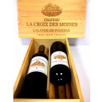 Coffret bois Bordeaux - Lalande de Pomerol - Croix des Moines - 2011 - 2 bouteilles