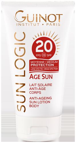 Âge Sun SPF20 Guinot - Lait solaire anti-âge corps - Sun Logic