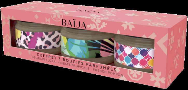 Coffret Trio Bougies Baija - Pink Mood